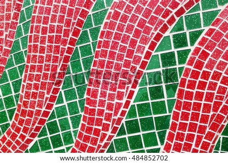 Colorful stained glass window with irregular random block pattern as Mosaic art in Thai temple. #484852702