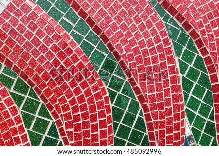 Colorful stained glass window with irregular random block pattern as Mosaic art in Thai temple. #485092996
