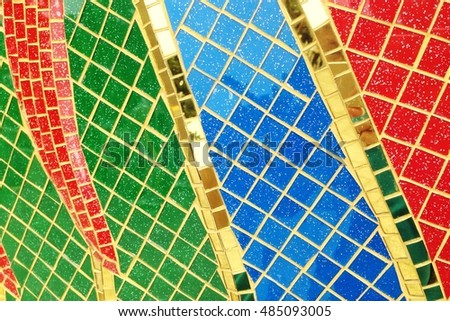 Colorful stained glass window with irregular random block pattern as Mosaic art in Thai temple. #485093005