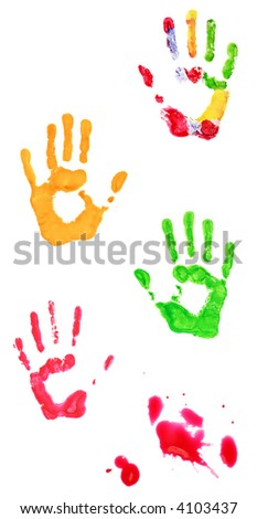 Colorful stains and hand prints