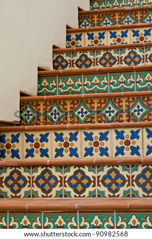 Colorful staircase featuring Mexican Talavera Tiles on a private home in Paradise Valley, Arizona.