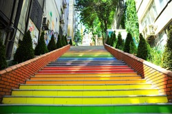Colorful Stairs Famous in Istanbul, Turkey