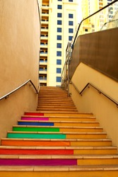Colorful stairway in JBR.  Concrete colorful stairs.