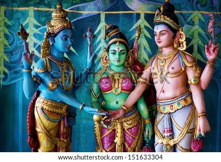 Colorful statue of Hindu God in Batu caves Indian Temple Kuala Lumpur Malaysia