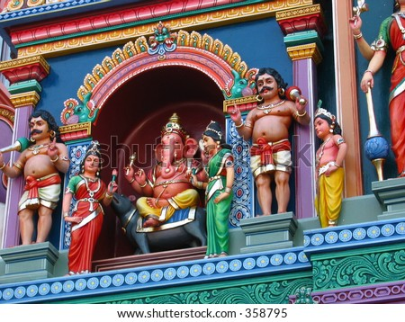 Colorful statue of the God Ganesh at an Indian Temple