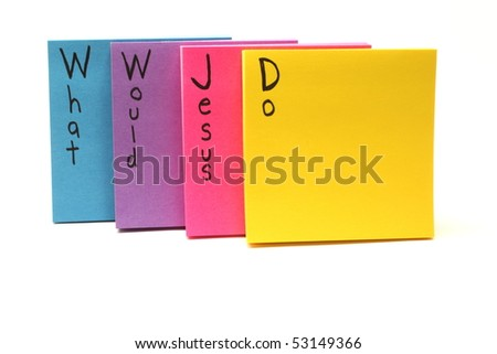 Colorful sticky notes with WWJD what would Jesus do written on them.