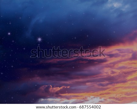 Colorful storm clouds at sunset and night sky with glowing stars nature illustration background celestial galaxy design #687554002
