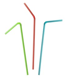 colorful straw collection clipping path included