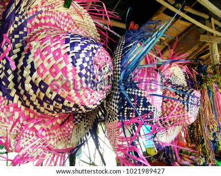 d193d3e645a Colorful Straw hats on sale at the tourist market