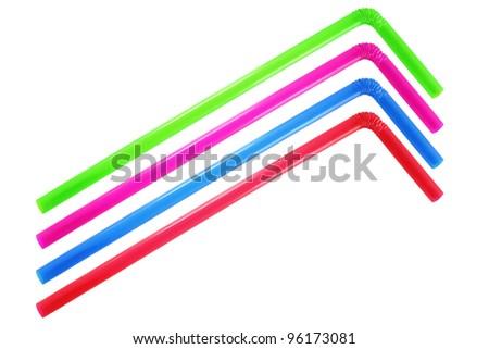 Colorful straws on white background - stock photo