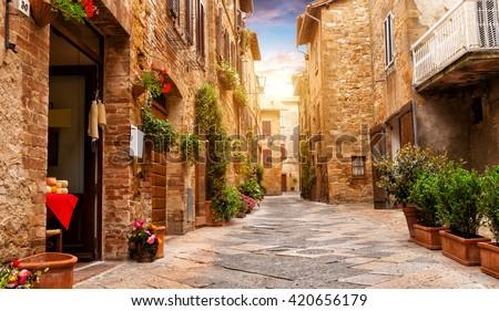 stock photo colorful street in pienza tuscany italy 420656179 - Каталог — Фотообои «Улицы, переулки»