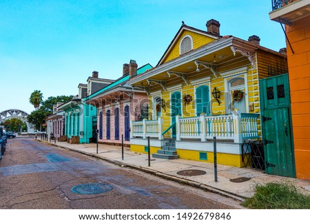 Colorful street in the french quarter, in New Orleans, Louisiana. USA Сток-фото ©