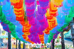 Colorful street paper decorations of Sayulita Magic Town located in Riviera Nayarit, the coast of Nayarit State in Mexico