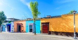 Colorful Street Scene Buildings from Oaxaca Mexico Without People