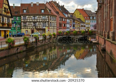Colorful street with beautiful half-timbered houses