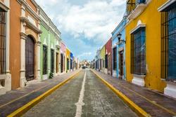 Colorful streets in Campeche Yucatan Mexico