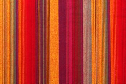 Colorful striped fabric texture in a close up view