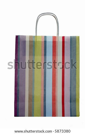 colorful striped shopping bag, isolated on white background