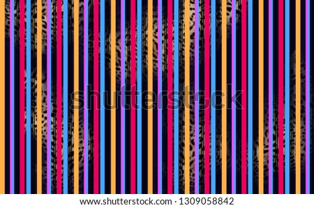 Colorful stripes pattern with leopard pattern
