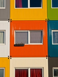 colorful student housing in stacked transport containers
