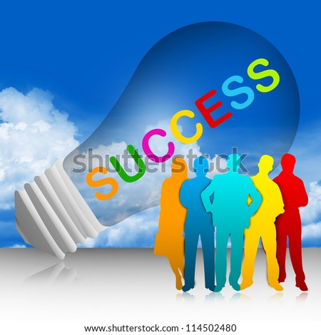 Colorful Success Text Inside The Light Bulb For Job and Business Concept in Blue Sky Background