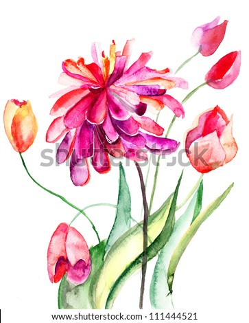 Colorful summer background with flowers. Watercolor illustration