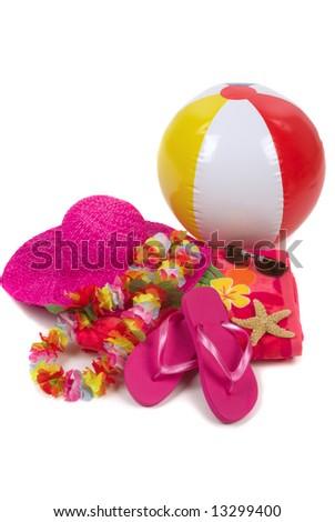 Colorful summer beachwear, flip flops, hat, orchids, sunglasses, beach ball and starfish