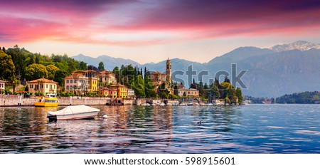 Colorful summer panorama of the Mezzegra town. Dramatic morning scene on the Como lake, province of Lombardy, Italy. Beautiful sunrise in the Italian Alps. Beauty of countryside concept background.  #598915601