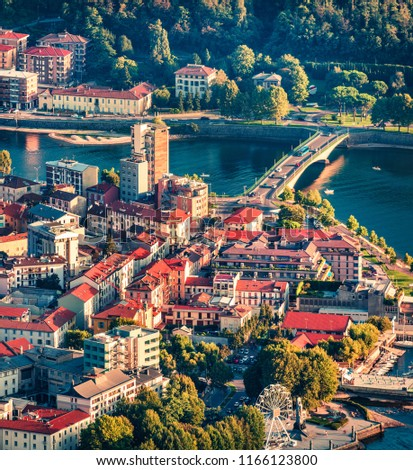 Colorful summer scene of Como lake. Aerial evening cityscape of Lecco town with central square, Italy, Europe. Traveling concept background. #1166123800