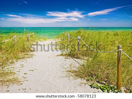 Colorful summer scene, Pathway to the beach in Miami Florida with ocean and blue sky background