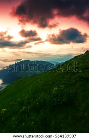 colorful summer sunrise  in the mountains, America travel landscape