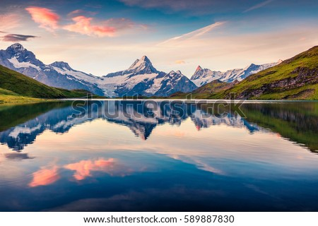 Colorful summer sunrise on Bachalpsee lake with Schreckhorn and Wetterhorn peaks on background. Picturesque morning scene in the Swiss Bernese Alps, Switzerland, Europe.  #589887830