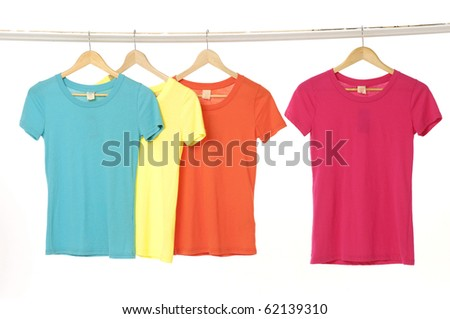 Colorful summer t-shirts on the hanger