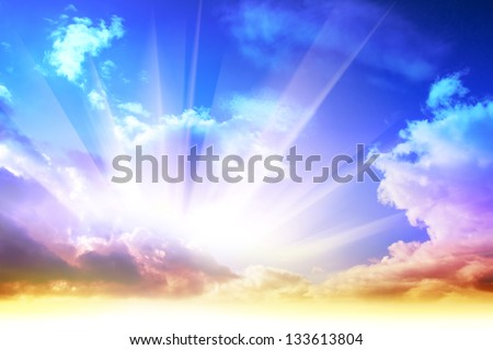 Colorful sunrise and sun light