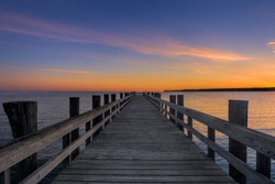 Colorful Sunrise at the Navy Beach Pier in Montauk