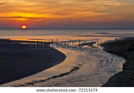 Colorful sunrise, gulf of Riga, Latvia