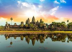 Colorful sunrise in Angkor Wat, Cambodia