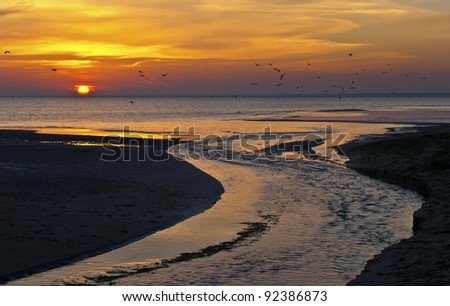 Colorful sunrise in the gulf of Riga, Baltic Sea, Lapmezciems, Latvia, Europe