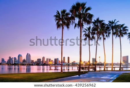 Colorful sunrise on Coronado Island.  San Diego, California USA.