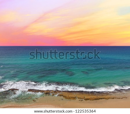 Colorful sunrise on Mediterranean sea