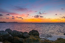 Colorful sunrise on the bay