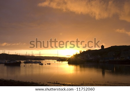 colorful Sunrise on the Harbor at Tarbert, Kintyre, Argyll, Scotland