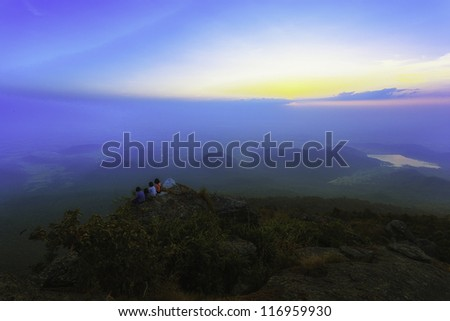 Colorful sunrise on top of mountain