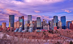 Colorful sunrise sky over downtown Calgary