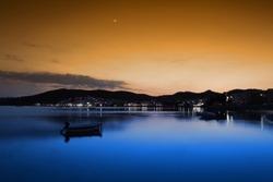 Colorful sunset at Milos island, Greece