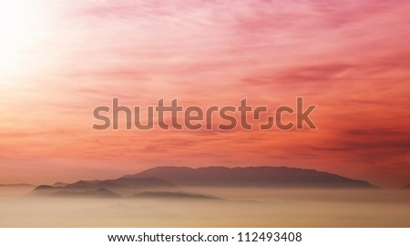 Colorful sunset at Saleska valley - Slovenia. - stock photo