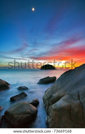 Colorful sunset at the rocks