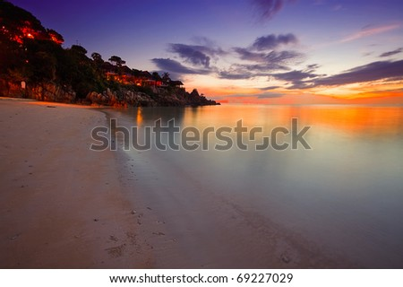 Colorful sunset at the tropical beach