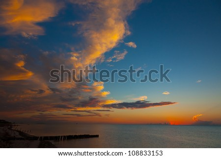 Colorful sunset in Mexico, holbox island
