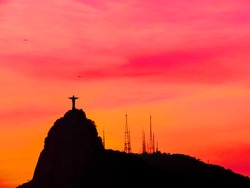 Colorful sunset in Rio